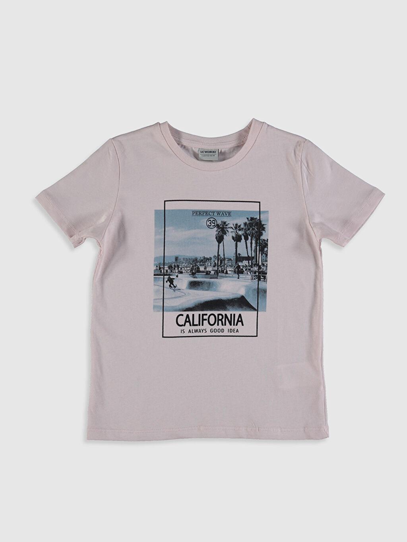 Pembe Erkek Çocuk Baskılı Pamuklu Tişört 0SE006Z4 LC Waikiki