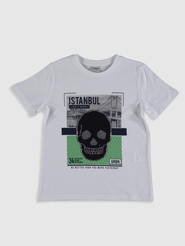 Beyaz Erkek Çocuk İstanbul Baskılı Payetli Tişört 0SE106Z4 LC Waikiki