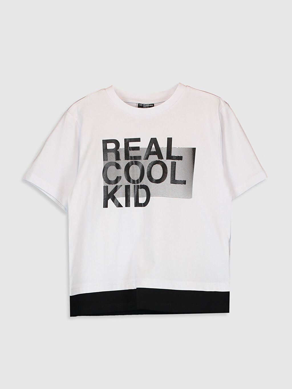 Beyaz Erkek Çocuk Aile Koleksiyonu Yazı Baskılı Tişört 0SE218Z4 LC Waikiki