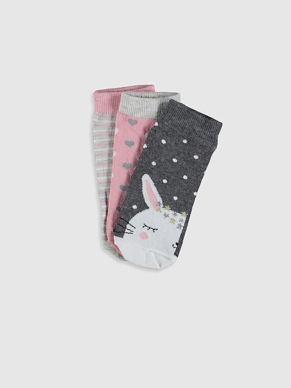 Gri Kız Çocuk Patik Çorap 3'Lü 0SE399Z4 LC Waikiki
