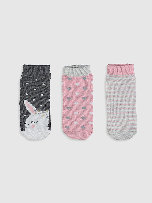 %63 Pamuk %15 Poliester %20 Poliamid %2 Elastan Patik Çorap Orta Kalınlık Kız Çocuk Patik Çorap 3'Lü