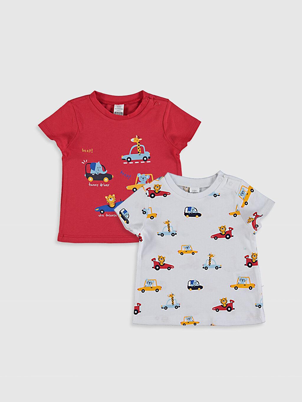 Kırmızı Erkek Bebek Baskılı Pamuklu Tişört 2'li 0SE576Z1 LC Waikiki