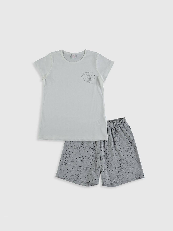 Beyaz Kız Çocuk Baskılı Pijama Takımı 0SE675Z4 LC Waikiki