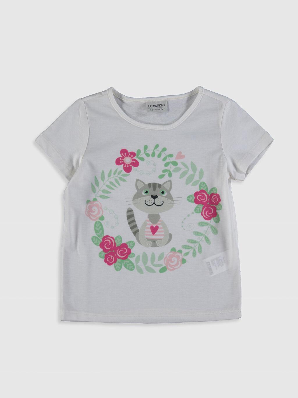Beyaz Kız Çocuk Baskılı Tişört 0SE680Z4 LC Waikiki