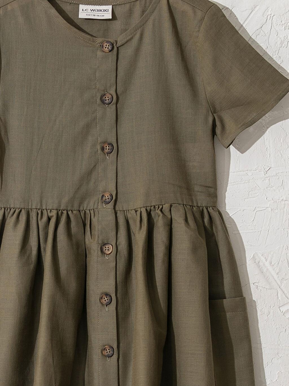 Kız Çocuk Kız Çocuk Düğmeli Pamuklu Elbise