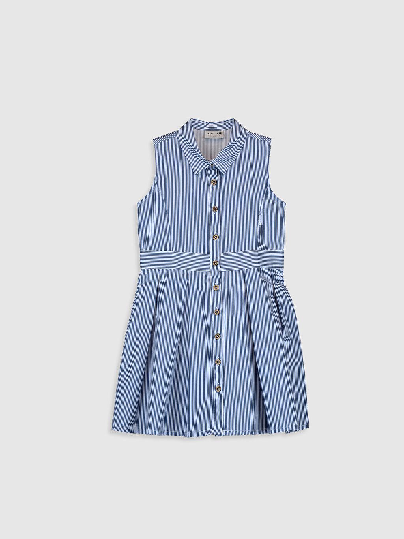 Mavi Kız Çocuk Çizgili Poplin Elbise 0SE711Z4 LC Waikiki