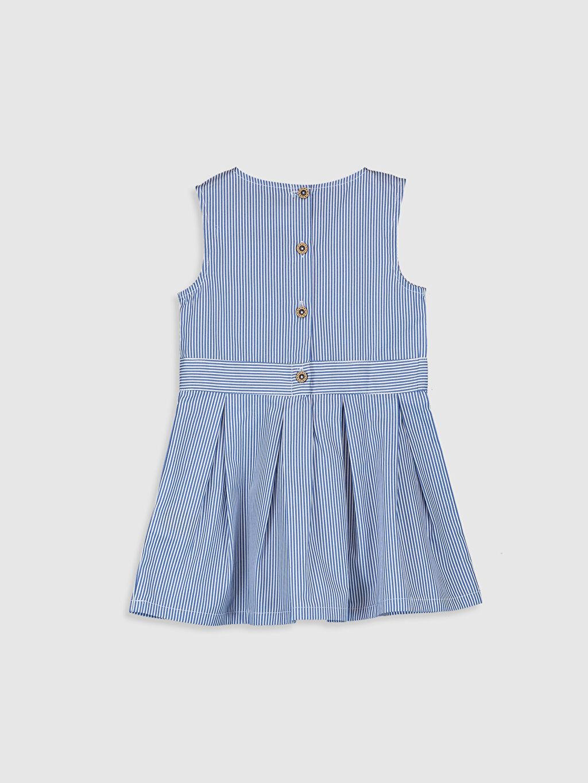 %100 Pamuk Poplin Çizgili Elbise Kız Bebek Çizgili Elbise