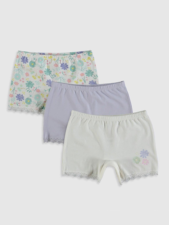 Ekru Kız Çocuk Pamuklu Boxer 3'lü 0SE745Z4 LC Waikiki