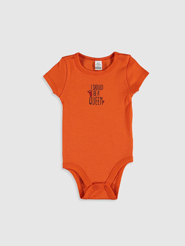 Turuncu Kız Bebek Baskılı Çıtçıtlı Body 0SE887Z1 LC Waikiki