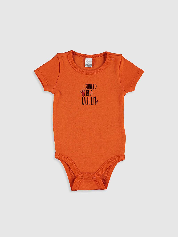 %100 Pamuk Çıtçıtlı Body Kız Bebek Baskılı Çıtçıtlı Body