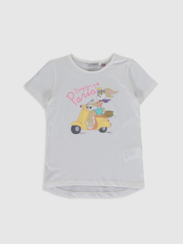 Ekru Kız Çocuk Lola Bunny Baskılı Pamuklu Tişört 0SF019Z4 LC Waikiki