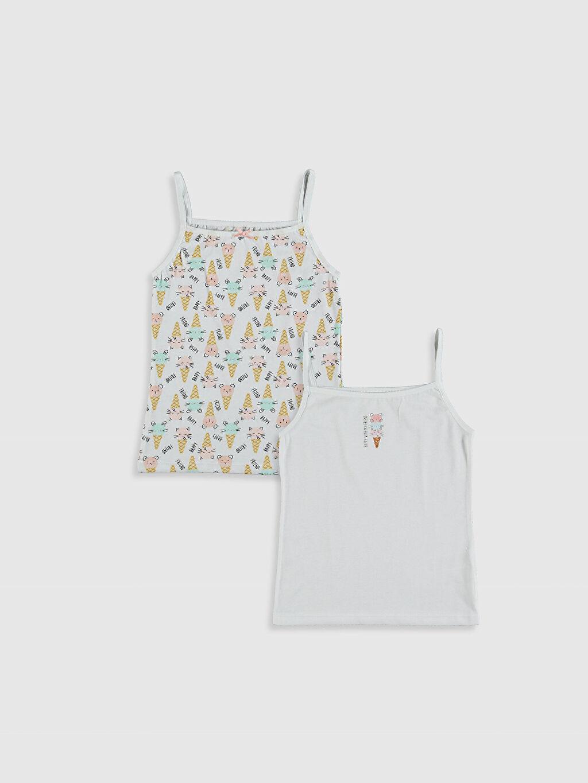 Beyaz Kız Çocuk Pamuklu Atlet 2'li 0SF080Z4 LC Waikiki