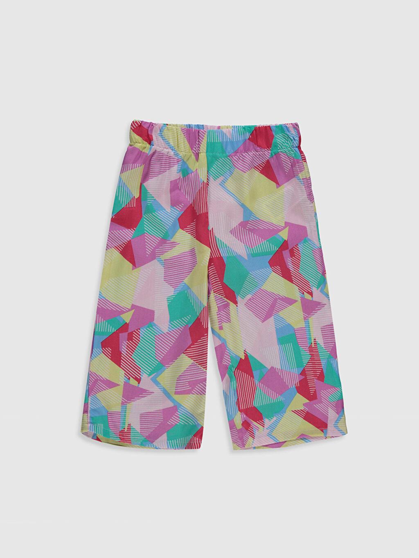 Pembe Kız Çocuk Desenli Viskon Pantolon 0SF132Z4 LC Waikiki