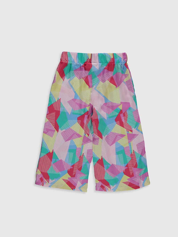 %100 Viskoz Standart Normal Bel Pantolon Kız Çocuk Desenli Viskon Pantolon
