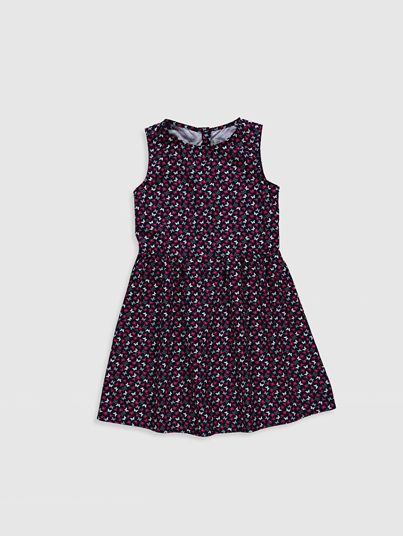 Siyah Kız Çocuk Desenli Pamuklu Elbise 0SF137Z4 LC Waikiki