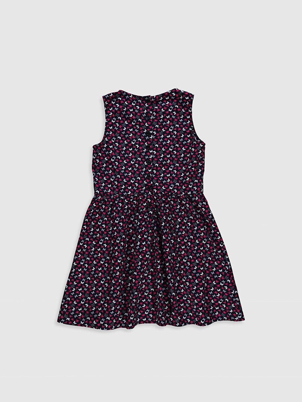 %100 Pamuk Elbise Kolsuz Baskılı Kız Çocuk Desenli Pamuklu Elbise