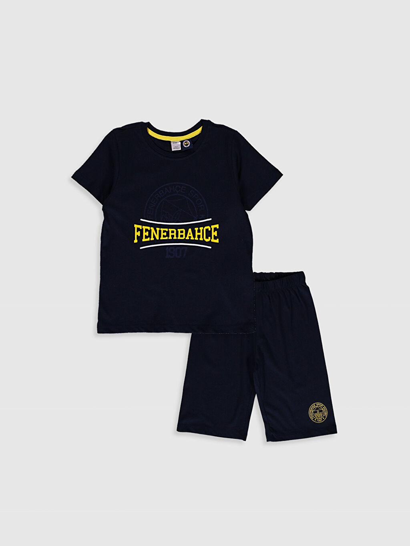 Lacivert Erkek Çocuk Fenerbahçe Amblemli Ve Baskılı Pijama Takımı 0SP495Z4 LC Waikiki