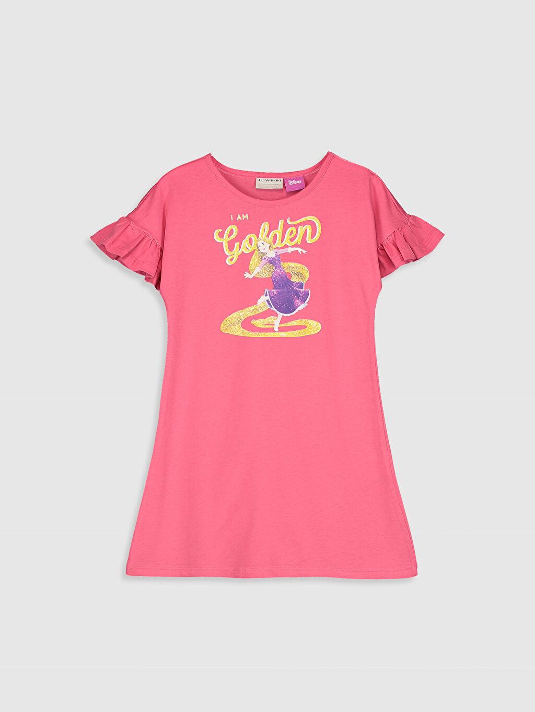 Pembe Kız Çocuk Rapunzel Baskılı Pamuklu Elbise 0SP530Z4 LC Waikiki