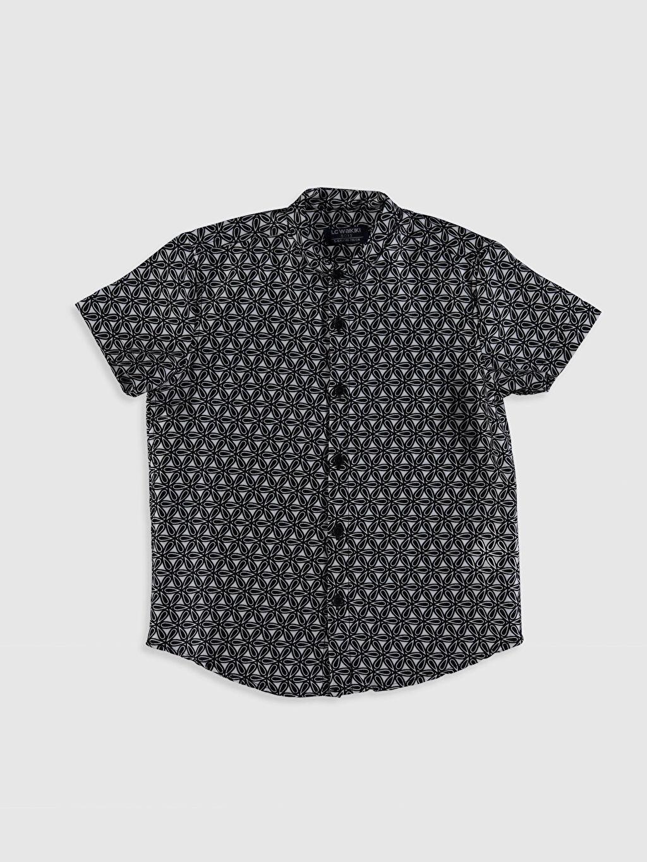 Siyah Erkek Çocuk Baskılı Pamuklu Gömlek 0SP705Z4 LC Waikiki