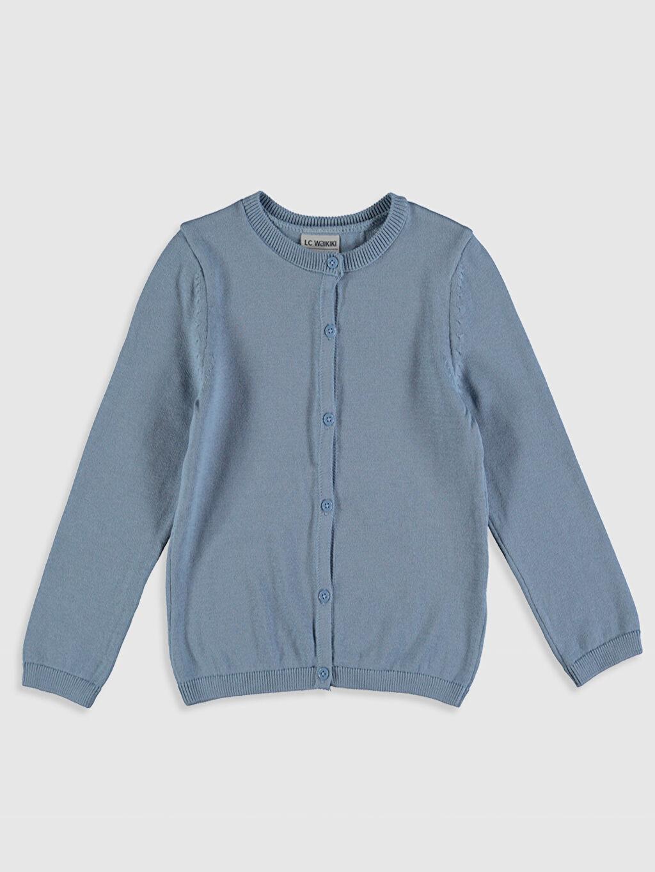 Mavi Kız Çocuk Işıltılı Triko Hırka 0SQ006Z4 LC Waikiki