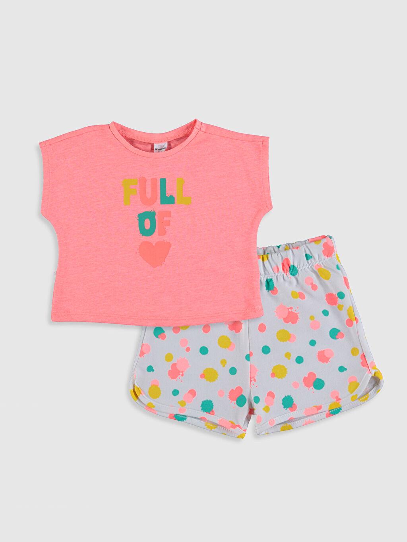 Pembe Kız Bebek Baskılı Tişört ve Şort 0SQ114Z1 LC Waikiki