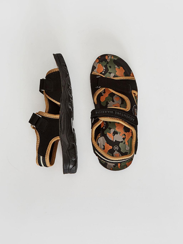 LC Waikiki Siyah Erkek Çocuk Cırt Cırtlı Sandalet