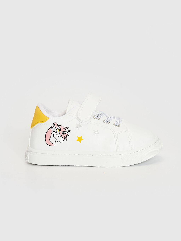 Beyaz Kız Çocuk Unicorn Baskılı Cırt Cırtlı Sneaker 0SQ729Z1 LC Waikiki