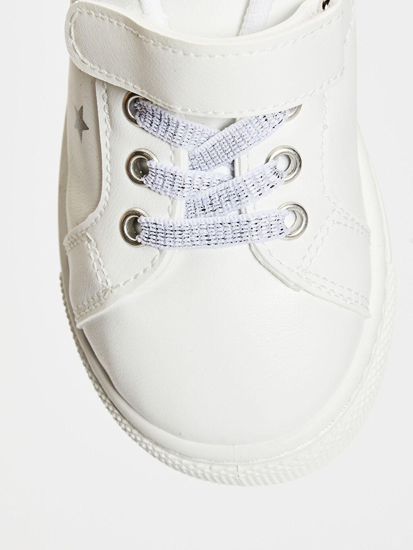 Beyaz Kız Çocuk Unicorn Baskılı Cırt Cırtlı Sneaker
