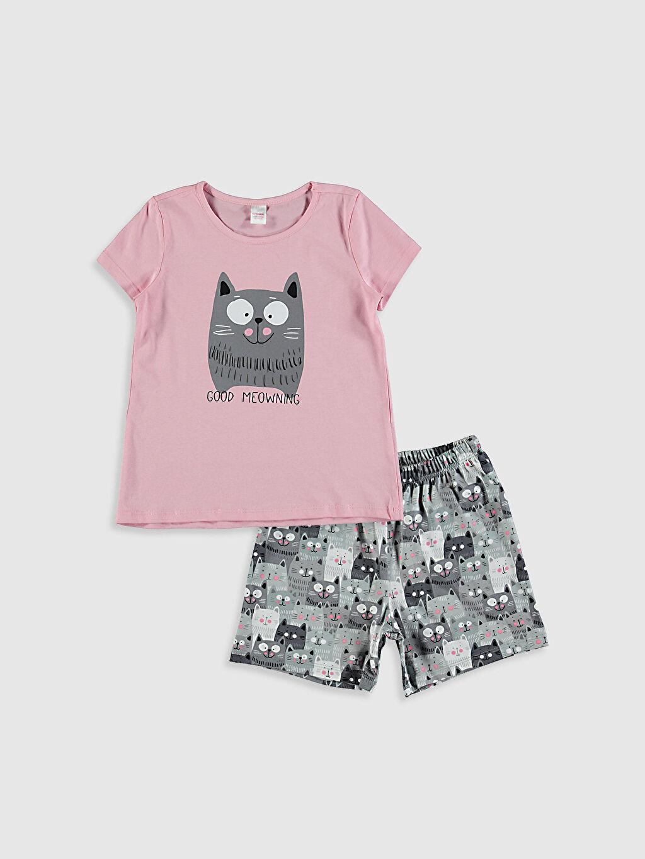 Pembe Kız Çocuk Baskılı Pamuklu Pijama Takımı 0SQ920Z4 LC Waikiki