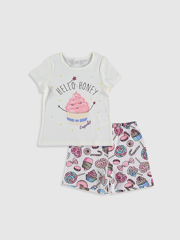 Ekru Kız Çocuk Baskılı Pamuklu Pijama Takımı 0SQ922Z4 LC Waikiki