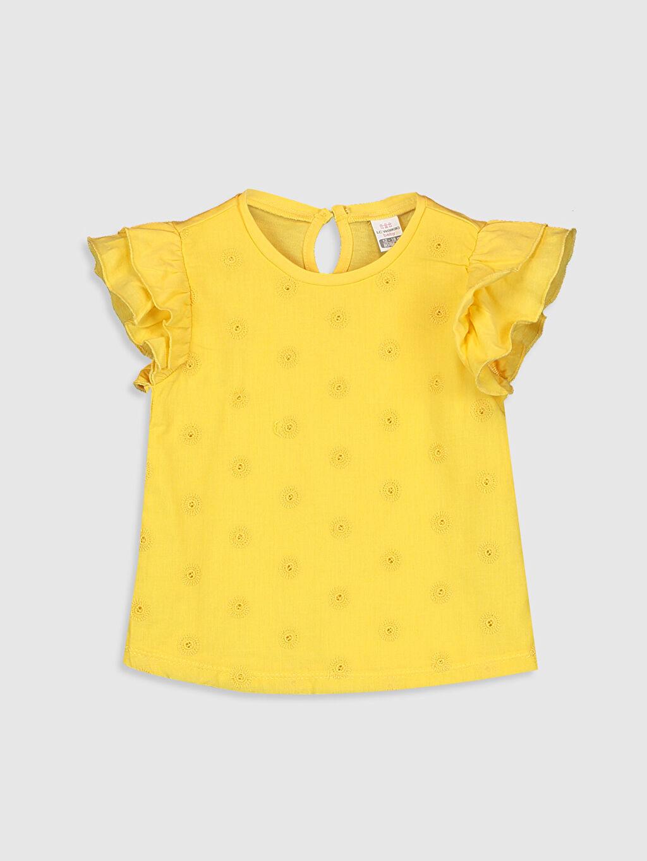 Sarı Kız Bebek Baskılı Pamuklu Tişört  0SQ942Z1 LC Waikiki