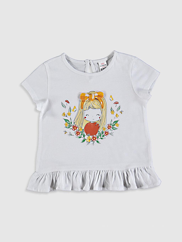 Beyaz Kız Bebek Baskılı Pamuklu Tişört  0SQ945Z1 LC Waikiki