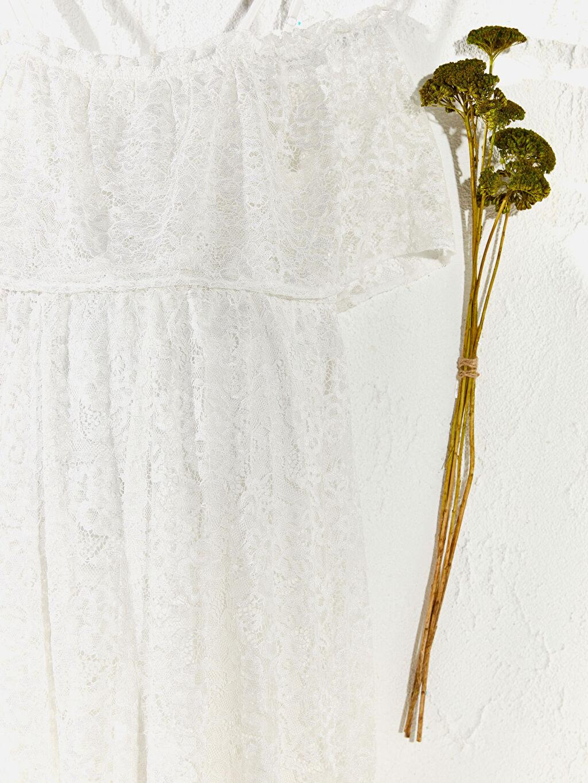 %78 Poliamid %22 Viskoz Dantel Detaylı Askılı Hamile Elbise