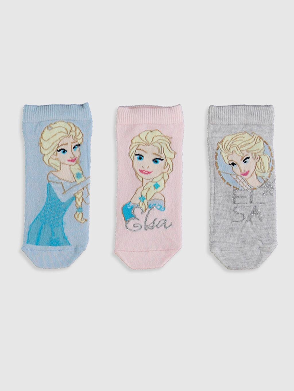 %65 Pamuk %33 Poliamid %2 Elastan Orta Kalınlık Patik Çorap Frozen Dikişli Kız Çocuk Patik Çorap 3'Lü