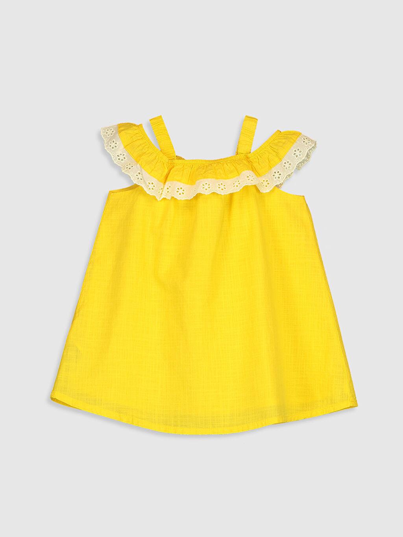 %100 Pamuk %100 Pamuk Düz Elbise Standart Günlük Kız Bebek Pamuklu Elbise