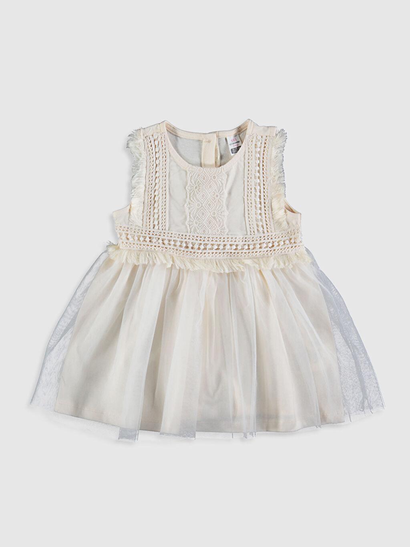 Ekru Kız Bebek Desenli Elbise 0SR436Z1 LC Waikiki
