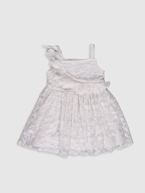 Ekru Kız Bebek Dantel Elbise 0SR437Z1 LC Waikiki