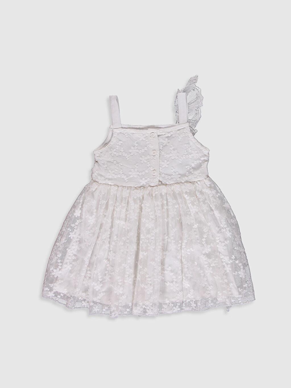 %49 Pamuk %51 Polyester %100 Pamuk Kolsuz Kare Yaka Elbise Tül Standart Baskılı Şık Kız Bebek Dantel Elbise