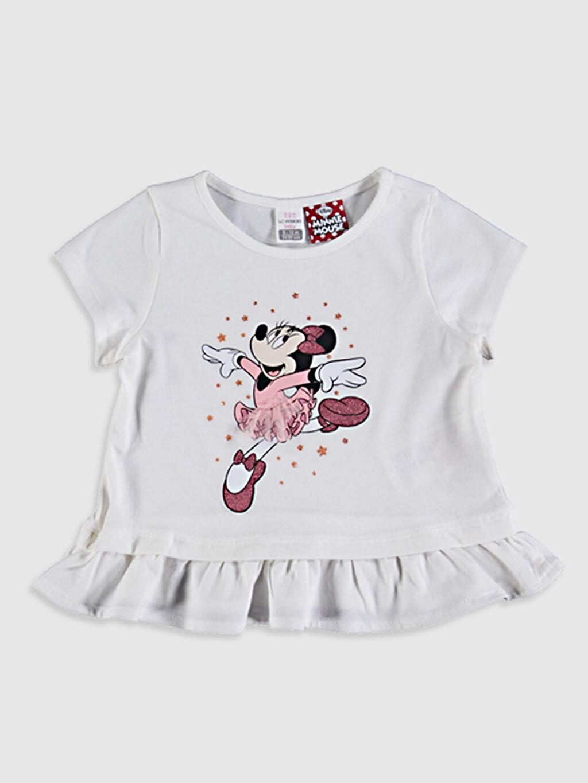 Ekru Kız Bebek Minnie Mouse Baskılı Tişört 0SR640Z1 LC Waikiki
