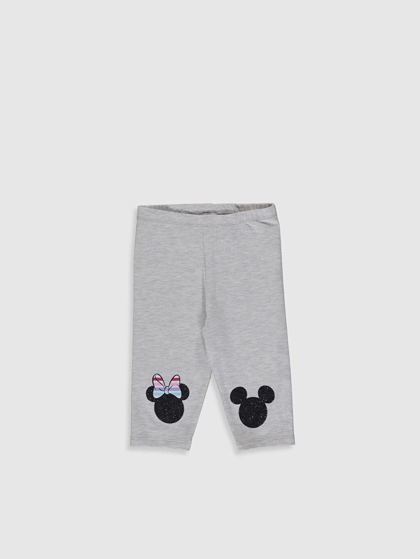 Gri Kız Bebek Minnie Mouse Baskılı 3/4 Boy Tayt 0SR668Z1 LC Waikiki