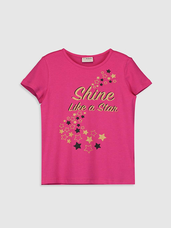 Fuşya Kız Çocuk Baskılı Tişört 0SR825Z4 LC Waikiki