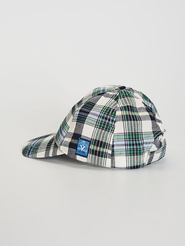 %55 Pamuk %45 Polyester Şapka Erkek Çocuk Ekose Şapka