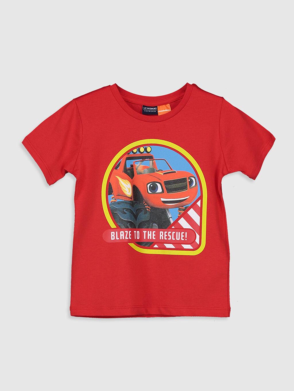 Kırmızı Erkek Çocuk Arabalar Pamuklu Tişört 0ST050Z4 LC Waikiki