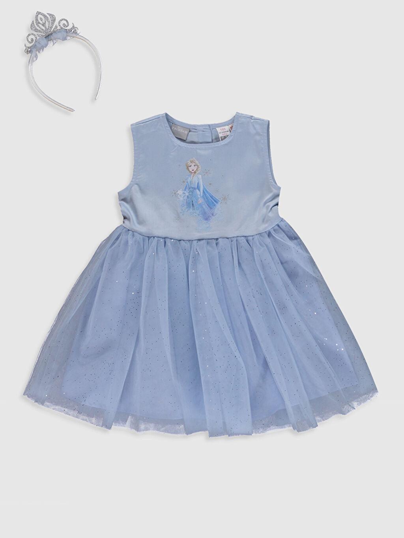 Mavi Kız Bebek Elsa Baskılı Elbise ve Taç 0ST092Z1 LC Waikiki