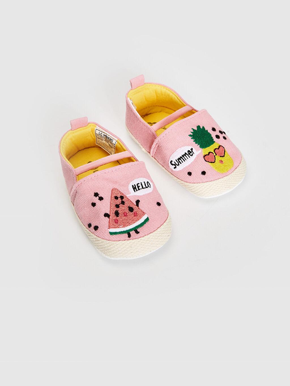 Pembe Kız Bebek Nakış Detaylı Espadril Yürüme Öncesi Ayakkabı 0ST116Z1 LC Waikiki