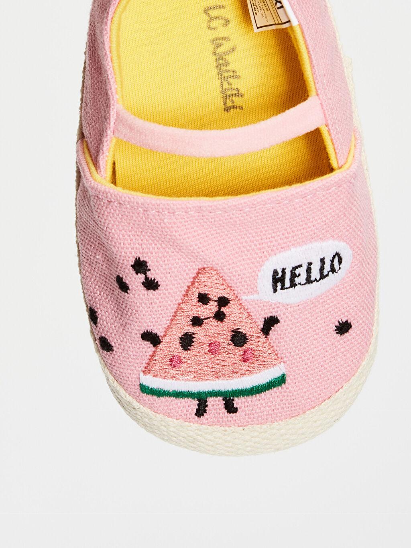 Pembe Kız Bebek Nakış Detaylı Espadril Yürüme Öncesi Ayakkabı