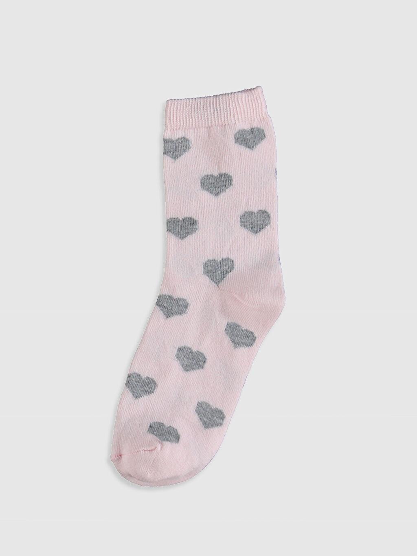 %74 Pamuk %25 Polyester %1 Elastan Soket Çorap Orta Kalınlık Anne Kız Soket Çorap 2'Li