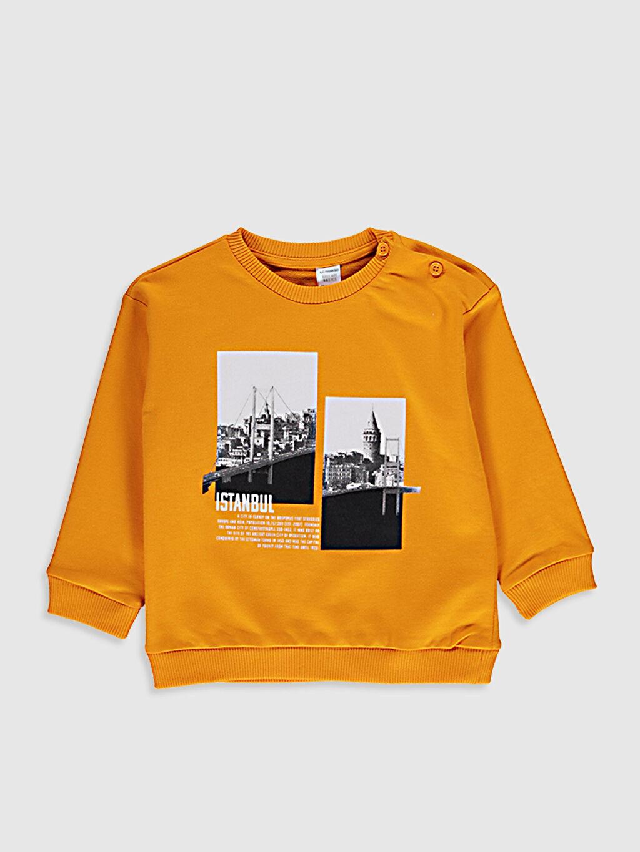 Sarı Erkek Bebek Baskılı Sweatshirt 0ST347Z1 LC Waikiki