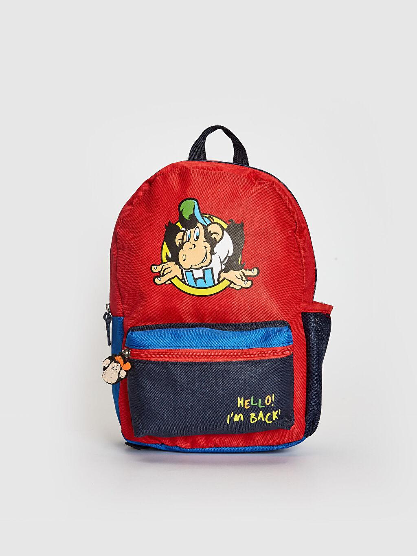 Kırmızı Erkek Çocuk Nostaljik Maymunlu Sırt Çantası 0ST358Z4 LC Waikiki