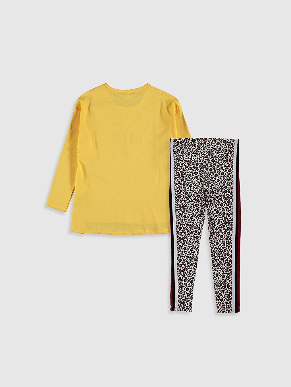 %100 Pamuk %95 Pamuk %5 Elastan Pijama Takım Kız Çocuk Tişört ve Tayt